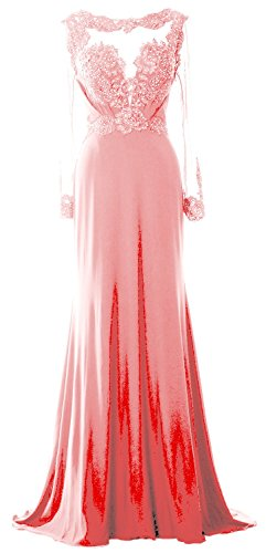 MACloth Women Long Sleeve Beaded Lace Mother of Brides Dress Formal Evening Gown Blush Pink