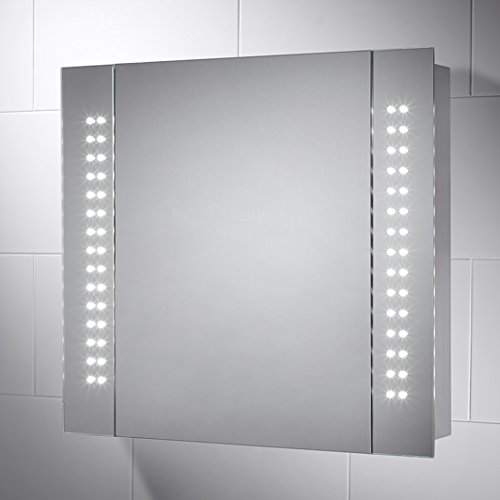pebble grey kinsley led illuminated bathroom mirror cabinet battery operated mirror with rocker switch light activation u0026 2 internal shelves