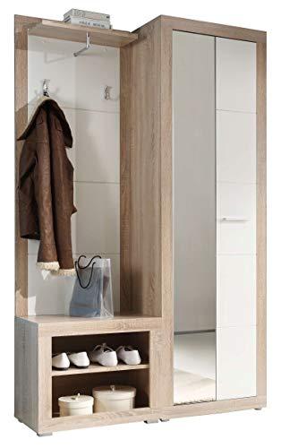 Avanti Trendstore - Canbe - Guardaroba in Legno Laminato di Quercia Sonoma e Bianco Lucido. Dimensioni Lap 120x194x37 cm