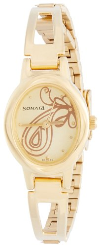 Sonata Everyday Analog Champagne Dial Women\'s Watch - 8085YM01