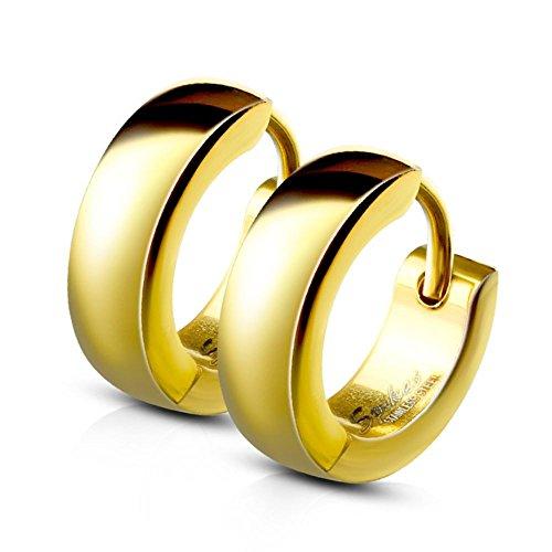 Bungsa® Gold - Ohrclips 4mm Edelstahl 1 Paar ~ 5 FARBEN ~ (Ohrringe Ohrschmuck Ohrklemmen Studs Damen Frauen Herren Mode Earrings) (Gold 14k Ohrringe Frauen-stud Für)