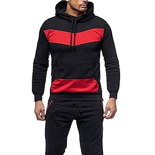 Amlaiworld uomo casuale sport fitness color block felpa con cappuccio tasca canguro