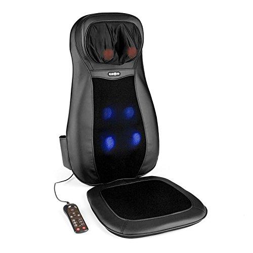 Klarfit Nukuoro Massagestuhl Auflage Massage Sitzauflage für Rücken & Nacken (3 Vibrations-Intensitätsstufen, zuschaltbare Wärmebehandlung, 4 Massageköpfe) schwarz