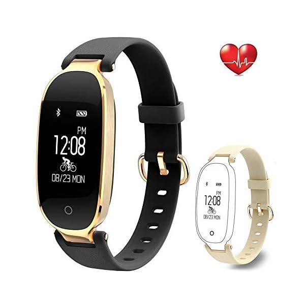 Rayfit Pulsera Actividad Reloj Inteligente Mujer Monitor de Ritmo Cardíaco Fitness Tracker Contador de Calorías Pasos Monitor de Sueño Podómetro Ejercicios Salud Pulsera Deportiva Pulsómetros 1