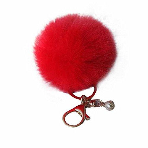 Zolimx Kaninchenfell Kugel Schlüsselbund Plüsch Auto Keychain Schlüsselanhänger (Rot)