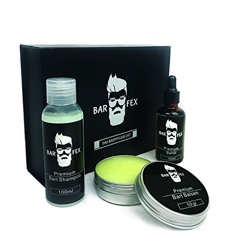 Bartpflegeset für Männer von BarFex (4-Teile) | Bartöl Neutral (50ml) + Bart Balsam Neutral (60g) + Bart Shampoo Neutral (100ml) | Das Bartpflege Set mit exklusiver Geschenk Box