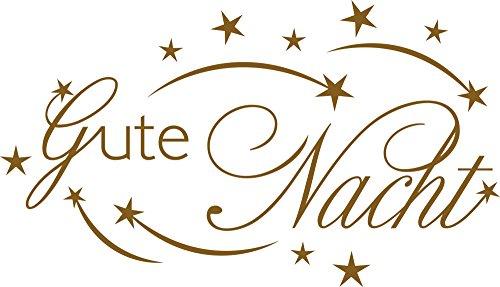 farben schlafzimmer waende GRAZDesign 670190_40_091 Wandtattoo Gute Nacht | Tattoo Schlafzimmer | Wand-Deko Spruch in 47 Farben (70x40cm//091 Gold)
