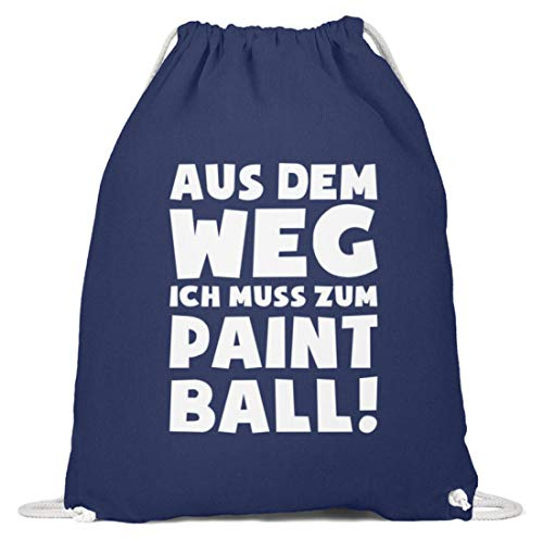 shirt-o-magic Paintball Softair: Muss zum Paintball! - Baumwoll Gymsac -37cm-46cm-Marineblau