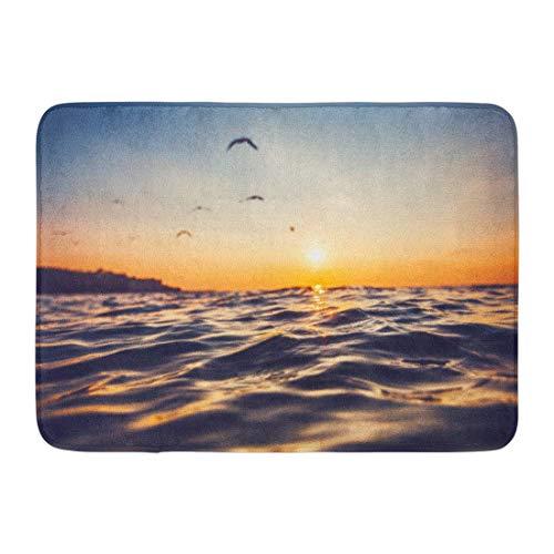 LIS HOME Fußmatten Bad Teppiche Outdoor/Indoor Fußmatte Blue Sea Sunrise Licht auf Ocean Wave Orange dramatische Sommer Strand Badezimmer Dekor Teppich Badematte - Wave Bad Licht