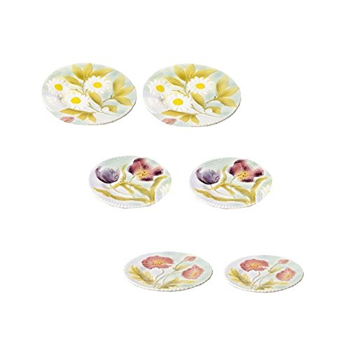 Set de 6 Assiettes à Dessert Fleurs Barbotine faïence ~ Faïencerie de Niderviller