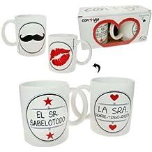 """""""Pinkmarket 55503 - Set 2 tazas cerámica Mug desayuno y café. MUG Cup para leche, agua, zumo de frutas. Modelo """"""""la Sra/el Sr."""""""""""""""
