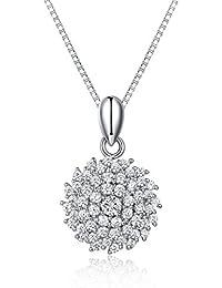 JiangXin®  Räumungsverkauf  Kubisch Zirkon, Allergenfrei 925 Sterling Silber  Anhänger 45cm Kette Halskette Damen Beste… 7479247740