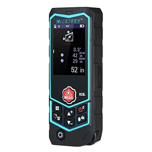 MiLESEEY Laser Entfernungsmesser Bluetooth-APP Wiederaufladbares Mess-Roulette mit Rad 50 Gruppen Hintergrundbeleuchtung LCD-Display und elektronischer Winkel
