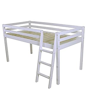 White Solid Pine Shorty Cabin Bed Mid Sleeper Junior