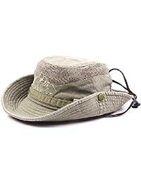 9175527b8c6 SAENSHING Men s Cotton Embroidery Fisherman Hat Mesh Visor Bucket Hats  Outdoor Wide Brim Sunshade Cap