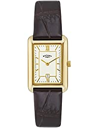 Ladies Womens Gold Tone Rotary Quartz Battery Watch on Brown Leather Strap with Date. LS02690/03