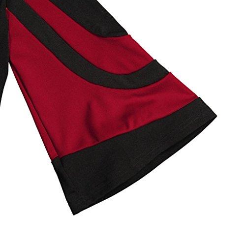 Femmes Cold épaule manches longues Sweatshirt Pull Tops Chemisier Chemise Rouge