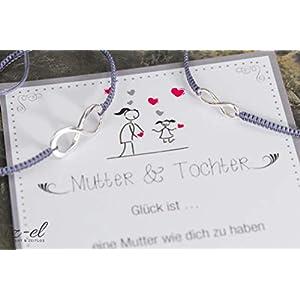 Mutter Tochter Infinity Armband Set 925 Silber Geschenk