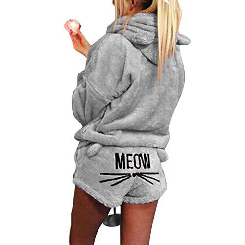 Minetom Femmes Automne Hiver Ensemble De Deux Pièces Pyjamas Chaud Corail Velours Vêtements De Nuit Mignon Chat Minou Motif Sweat à Capuche et Shorts Gris FR 42