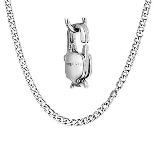 FaithHeart 5mm Herren Kette Edelstahl Halskette Silber-Ton Curb Panzerkette Herrenkette ()