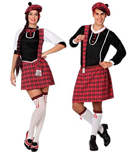 Couples Ladies & Mens Matching Red Tartan Scottish Traditional National Dress Fancy Dress Outfits
