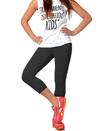 FUNGO Leggings Pour Femmes 3/4 Longueur Yoga Fitness Pantalon Leggins De Sport (44, Noir)