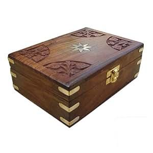 hand geschnitzte holz schmuck box aus indien k che haushalt. Black Bedroom Furniture Sets. Home Design Ideas