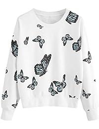 829a7671196f93 ABCone-Donna Pullover Felpa Stampa con Farfalle O-Collo T-Shirt Maniche  Lunghe Elegante Autunno Camicette Camicie…
