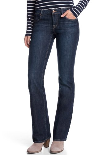 edc by ESPRIT Damen Boot-Cut Jeans Five, Gr. W26/L32, Blau (C DARK STONE)