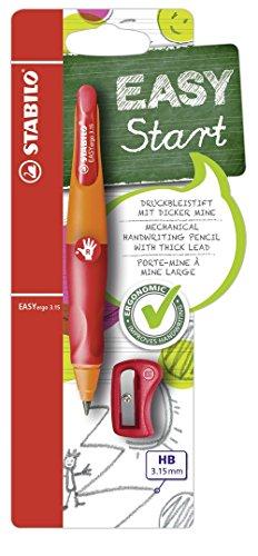 Ergonomischer Druck-Bleistift für Rechtshänder - STABILO EASYergo 3.15 in orange/rot - inklusive 1 dicken Mine - Härtegrad HB & Spitzer -