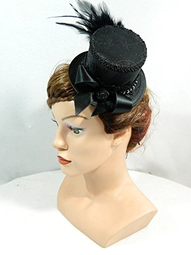 Kostüm Dirndl Melbourne (Mini Zylinder schwarz Damenhut Hut Fascinator Cocktail Hütchen Gothic Steampunk Kopfschmuck Haarschmuck Headpiece)
