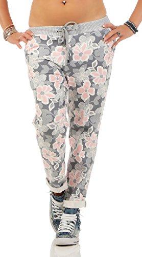 ZARMEXX Damen Sweatpants Baggy Hose Boyfriend Freizeithose Sporthose All-Over Roses Print One Size (Einheitsgröße: Gr. 36-38, Floral 6)