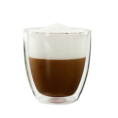 mohnblume - CAPPUCCINO/KAFFEE Glas 250ml, doppelwandig (Thermoglas) mit Schwebeeffekt