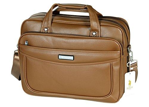 VIDENG POLO Verlängerte 15,6 Zoll Leder Aktentasche Laptop Taschen Geschäft Messenger Tasche Herren Handtasche (C1) (Light Brown) (Light-brown-leder-tasche)