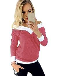 Mujeres De La Moda Fuera del Hombro De Costura A Rayas con Cuello En V Camisetas Largas Blusas Sueltas para Mujeres Simples Mangas…