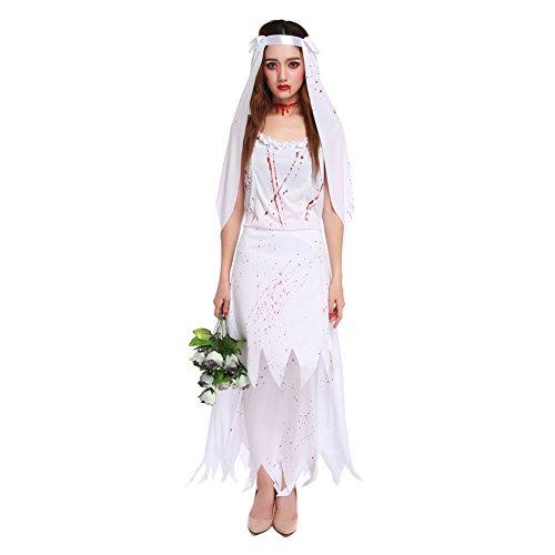 Damen Geisterbraut Kostüm cosplay Kostüme Halloween Abendkleid Damen Zombie Horror (Dämon Kostüm Weiblich)