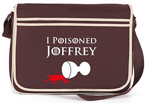 Shirtstreet24, I Poisoned Joffrey, Retro Messenger Bag Kuriertasche Umhängetasche Braun