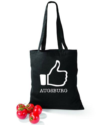 Artdiktat Baumwolltasche I like Augsburg Schwarz