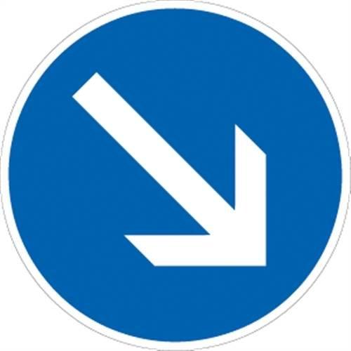 Verkehrszeichen VZ222-20, Vorgeschriebene Vorbeifahrt rechts vorbei, Alu, RA1, Ø 60cm Verkehrsschild
