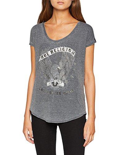 True Religion Damen T-Shirt Eagle Scoop, Schwarz (Black 1001), 40 (Herstellergröße: L)
