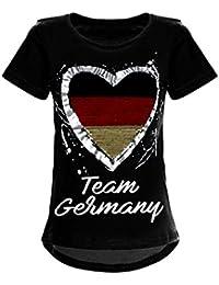 Deutschland T-Shirt Mädchen Wende-Pailletten WM 2018 Fan Fussball Top Shirt 22512