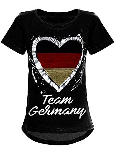 BEZLIT Deutschland Mädchen Wende-Pailletten WM 2018 Fan Fussball T Shirt 22512, Farbe:Schwarz, Größe:104