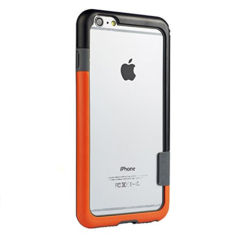 "Aavjo® Bumper Frame Trio Series Flexible Bumper Case cover For Apple iPhone 7 / iPhone 8 4.7 "" Inch ( Orange + Black )"