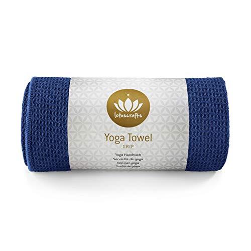 Lotuscrafts Yoga Handtuch Wet Grip - Rutschfest & Schnelltrocknend - Antirutsch Yogatuch mit hoher Bodenhaftung - Yogahandtuch ideal für Hot Yoga [183 x 61 cm] (Himmelblau)