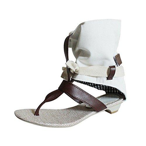 WEONEDREAM de las mujeres del verano de la honda del vestido de Rihanna plana sandalias del pescador (5.5, beige)