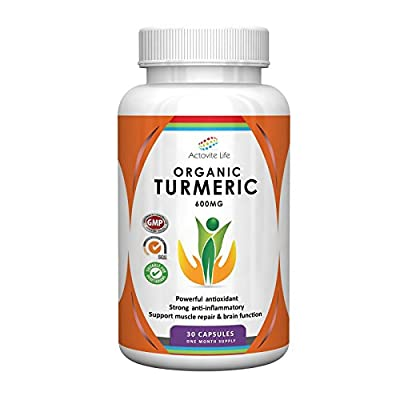 Organic Turmeric 600mg by Actovite Life - Natures Best Anti Inflammatory - Powerful Joint Supplement - Advanced Pain Relief - Helps Arthritis - Supports Muscle Repair - Boosts Brain Fucntion - Anti Aging - Promotes Cardiovascular Health - Quick Absorption