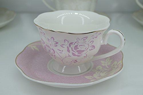 12tlg. Kaffeeservice Kaffee Cappuccino Service Tassen Untertasse Edel Nostalgie Rosa Rosen Dekor...