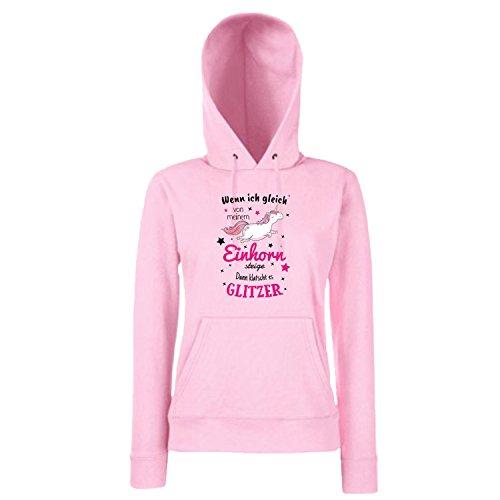 Shirt-Panda Einhorn Damen Mädchen Hoodie Einhorn Glitzer mit Unicorn Motiv Spruch Fun Cool Ladyfit Light Pink 152 (Kindergöße)