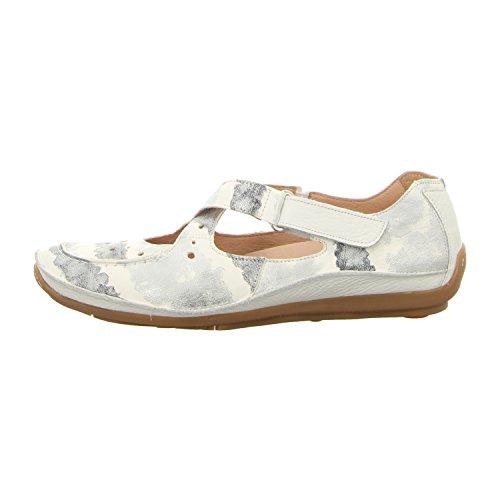 Softwaves Femme Mocassins Plats Blanc, (weiß-kombi) 4.69.04 Alaska-white Weiß-kombi