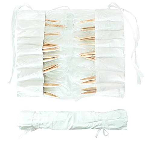 16 Piece Circular Bamboo Knitting Needle Set by Curtzy - 8 Pairs of 100cm (39.4 Inch) Wooden Knitting Needles - Sizes 2mm - 12mm in Cotton Storage Case. Perfect for Beginners & Experienced